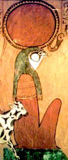 Ra afgebeeld met de Koe Mehuret.