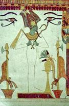 Voorstelling van Osiris in een tombe.