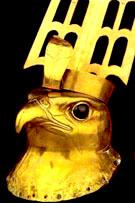 Gouden figuur van Havik Horus.