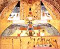 Khnum afgebeeld op een muur van een tombe.