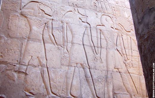 Relief op de Tempel van Luxor.