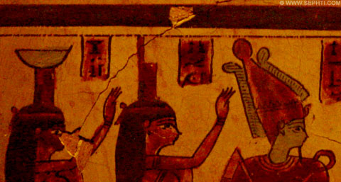 Ancient Egyptian painting of Nebet-Het, Isis and Osiris.