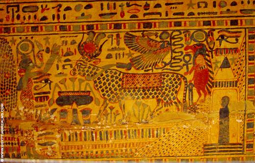 Beschildering van een sarcofaagkist.