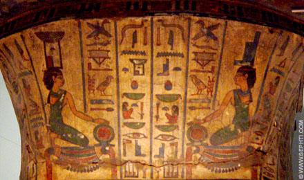 Nebet-Het links en Aset rechts met een Shen ring afgebeeld op de pleisterlaag van een mummie.