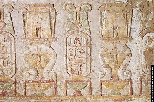 Relief van Hathor in de Tempel van El Kab.