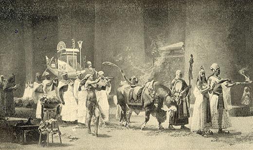 Processie optocht van de Apis stier.