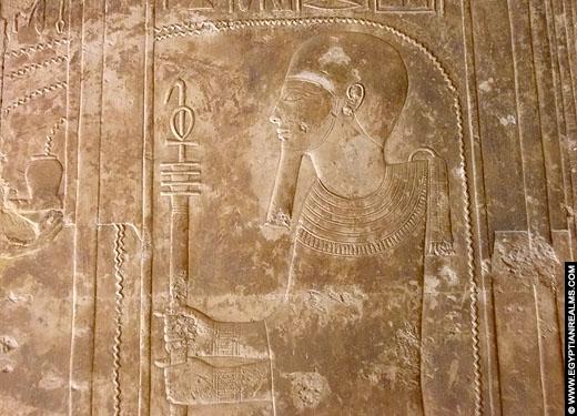 Reliëf van Ptah in de Abydos Tempel.