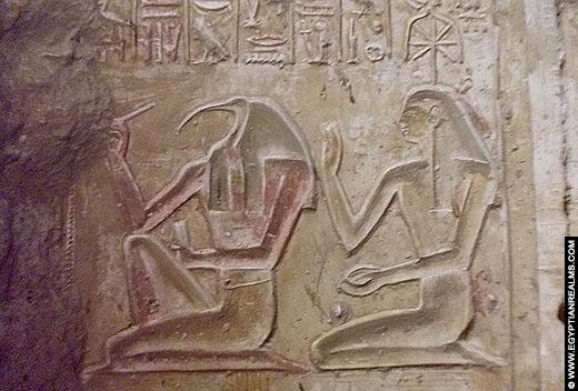 Relief van Thoth en Seshat uit de Abydos Tempel.