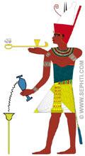 Illustratie van Pharaoh die een offer brengt.