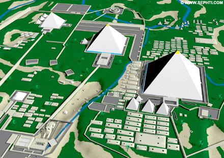 Reconstructie van de piramides van Gizeh.