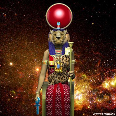 3D impressie Sakhmet. ©R.Bloom, Egyptian Realms.com.