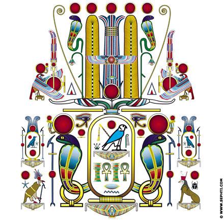 Illustratie Egyptische symboliek. ©R.Bloom, Egyptian Realms.com