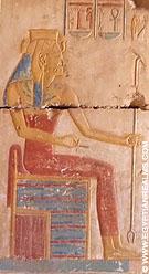 Relief van een dame in de tempel van Ramses II.