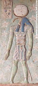 Neter Tehuti afgebeeld op een plafond van de Dendera tempel.