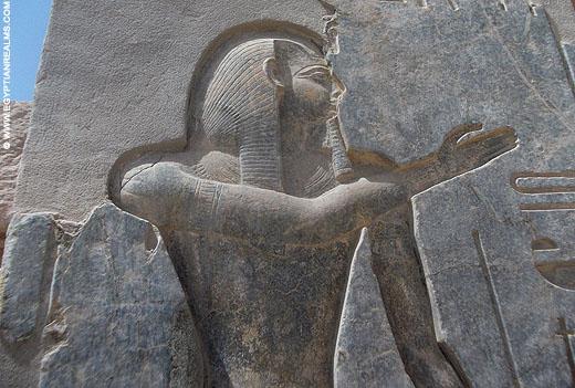 Relief van Ramses II in de Ramesseum tempel.