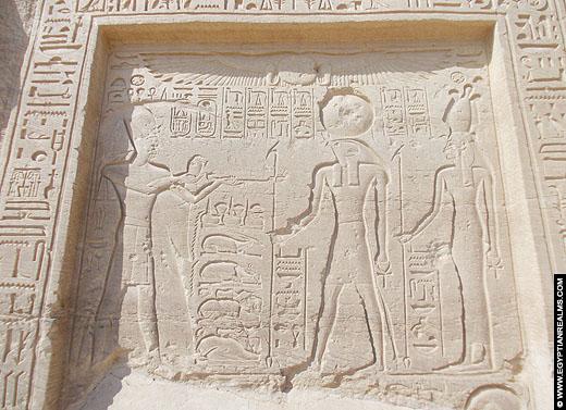 Relief voorstelling in de tempel van Nekhbet bij El-Kab.