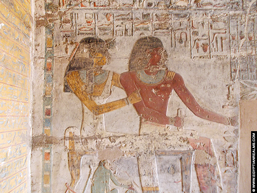 Relief van Pahery met zijn partner in zijn tombe.