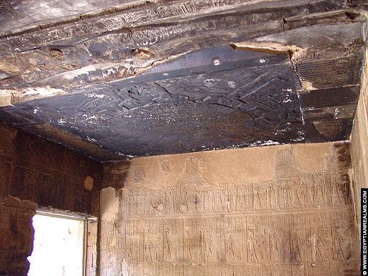 Zodiak verwerkt in het plafond van de Dendera Tempel.