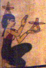 Egyptisch Hieroglief van dame met sterren.