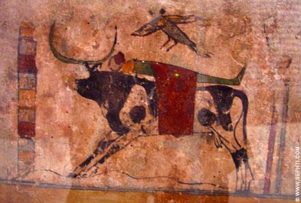 Lichaam van een persoon op de rug van de Hemelse stier.