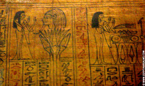 Egyptische voorstelling op Papyrus.