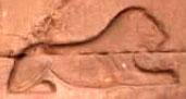 Egyptisch hieroglief van rustende Leeuw.