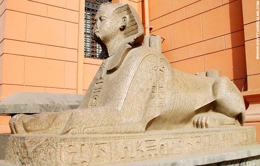 Beeld van een Egyptische Sphinx.