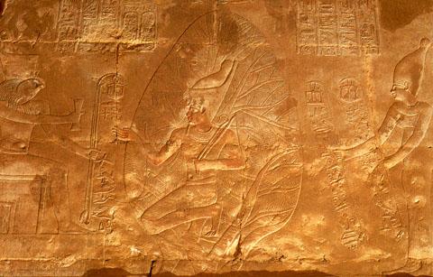 Pharaoh afgebeeld voor de Levensboom.