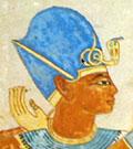 Pharaoh met blauwe kroon.
