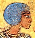 Pharaoh Akhenaten met haardracht.