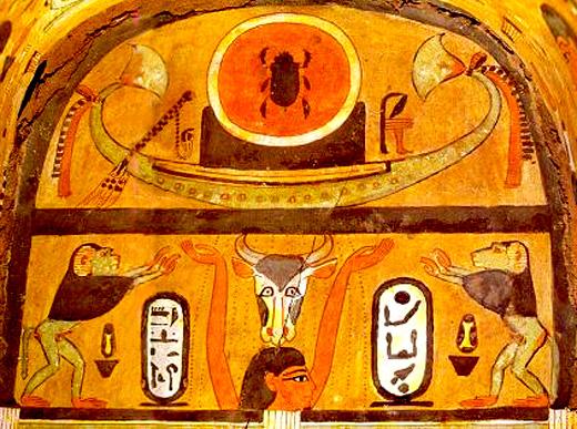 Voorstelling van baviaan in oud-Egyptische sarcofaag kist.