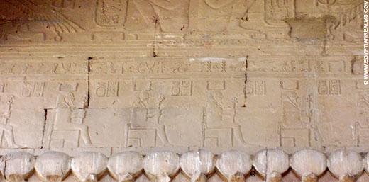 Relief van de Ka op een muur van de Kom-Ombo tempel.
