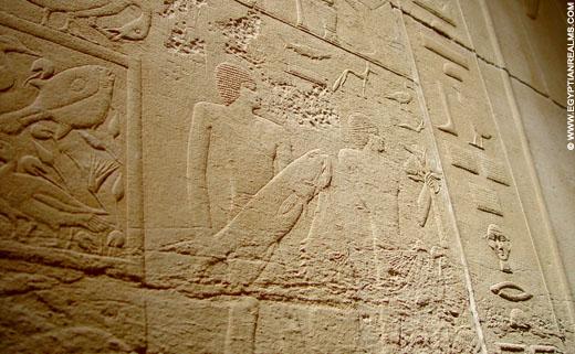 Oud-Egyptisch relief van man met vis.