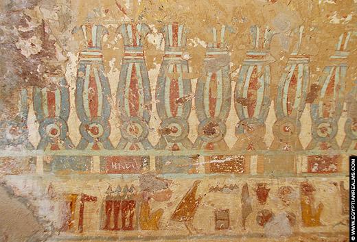 Beschilderingen in een tombe bij El-Kab.
