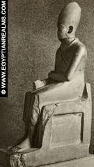 Beeld van Farao Chasechem, 2e Dynastie.