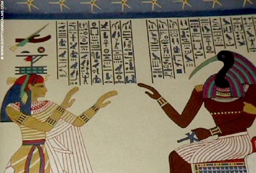 Oud-Egyptische schilderkunst in de zoo van Antwerpen.