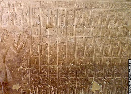 Lijst met koningsnamen uit de Abydos tempel.