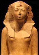 Beeld van Egyptische farao Hatjepsut.