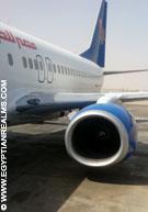 Vliegtuig bij Cairo Airport.