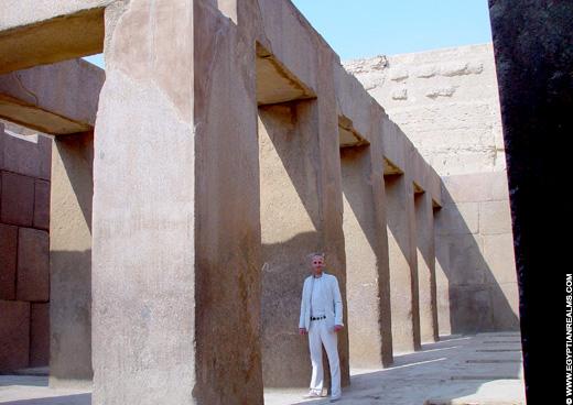 Bij de Grote Sphinx van Gizeh.