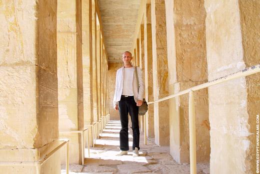 In de Tempel van Hatjepsut.