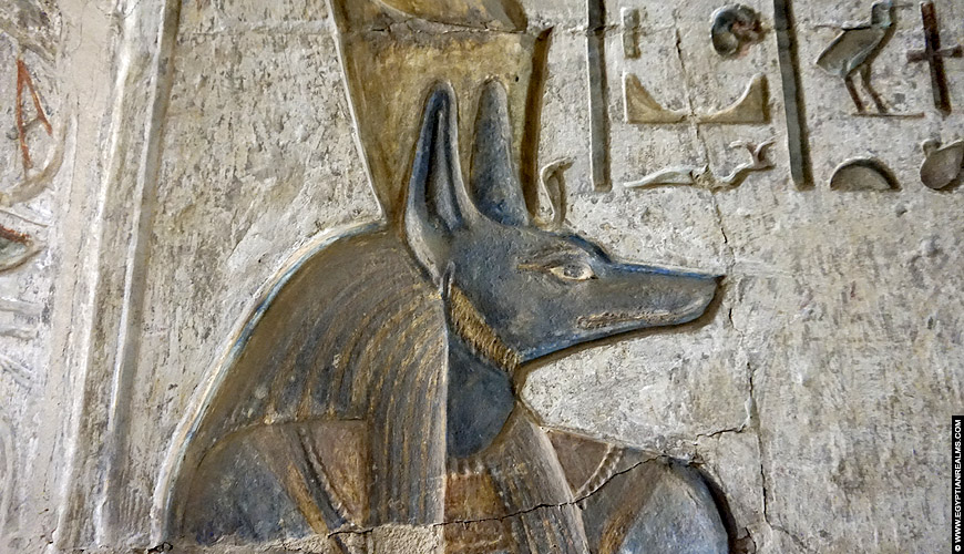 Relief of Anubis from the temple of Deir el-Medina.