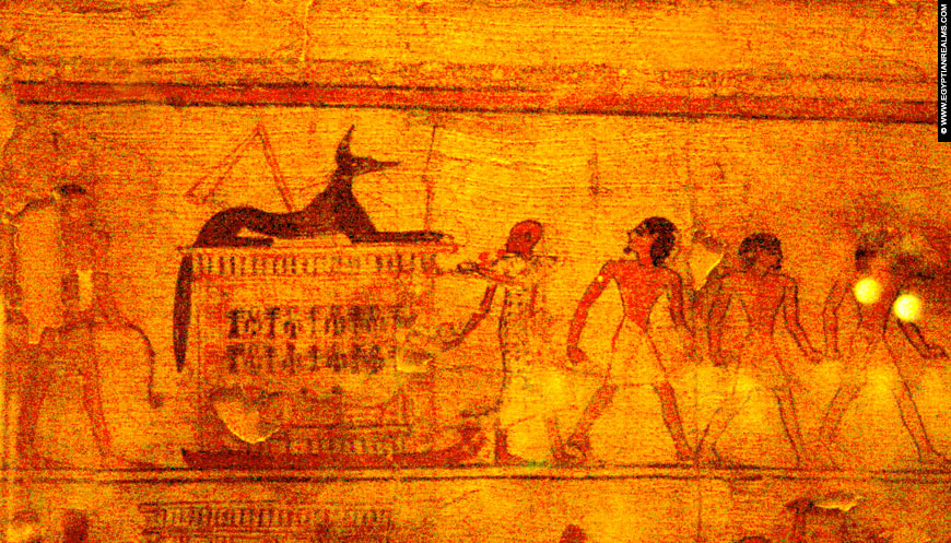 Ancient Egyptian funeral depicted on Papyrus.