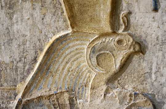 Relief of the god Horus from the temple of Deir el-Medina