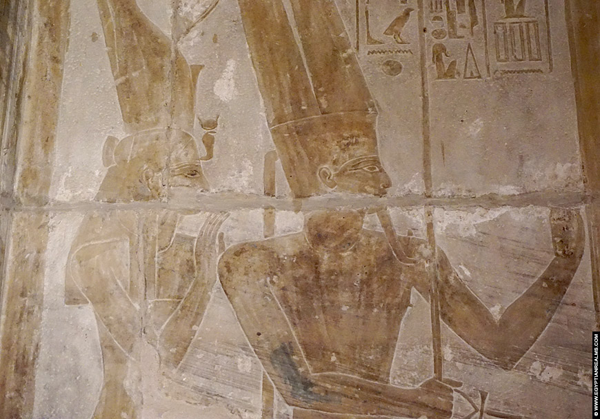 Relief of Mut and Amun insdie the temple of Seti I.