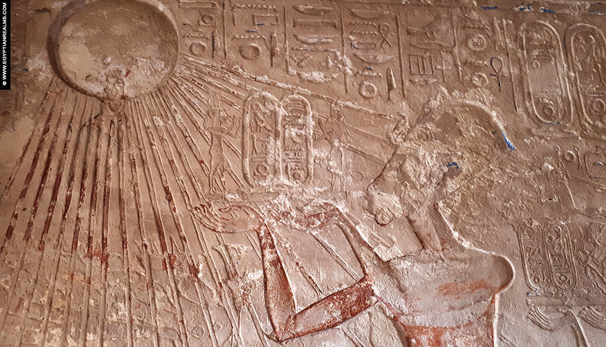 Relief of Aten and Akhenaten in the tomb of Apy.
