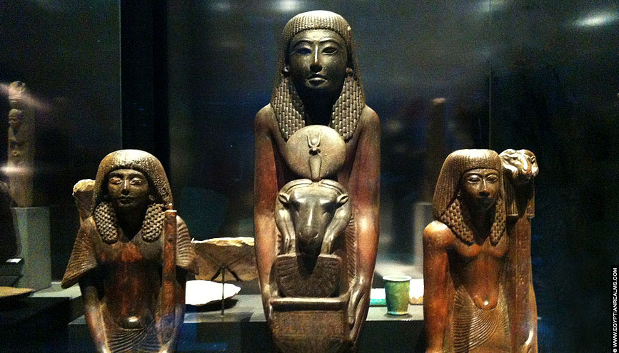 Statue's of Ancient Egyptian Priest. RMO Leiden.