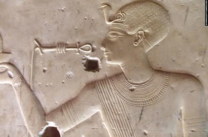 Relief of pharaoh Seti I at Abydos.