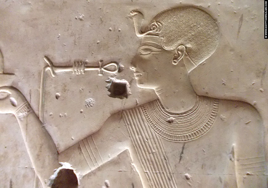 Relief of pharaoh Seti I at Abydos.