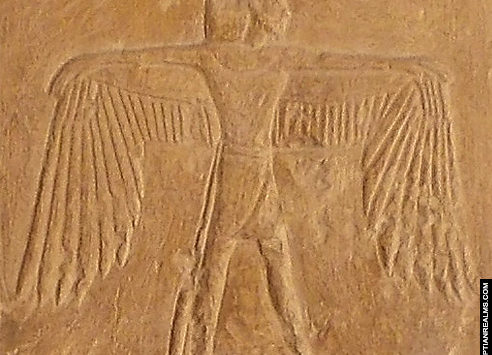 Ancient Egyptian hieroglyph of winged man